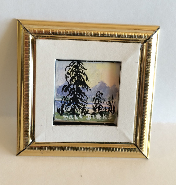 Dollhouse Miniature - 311424 - Painting - OOAK Hand Painted - Black Trees & Lake - Gold Frame