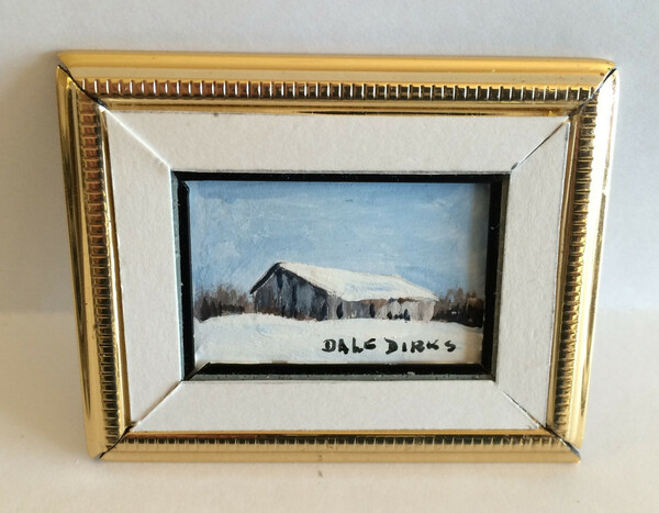 Dollhouse Miniature - 311427 - Painting - OOAK Hand painted - Barn in Snow - Gold Frame