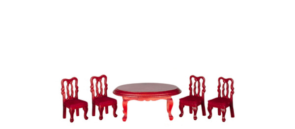 "Dollhouse Miniature - T0230A - 1/2"" Scale Dining Room Table & Chairs - 5 Pc - Mahogany"