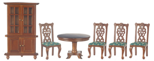 Dollhouse Miniature -T0108 - Dining Room Set/6 - Green Seats - Walnut