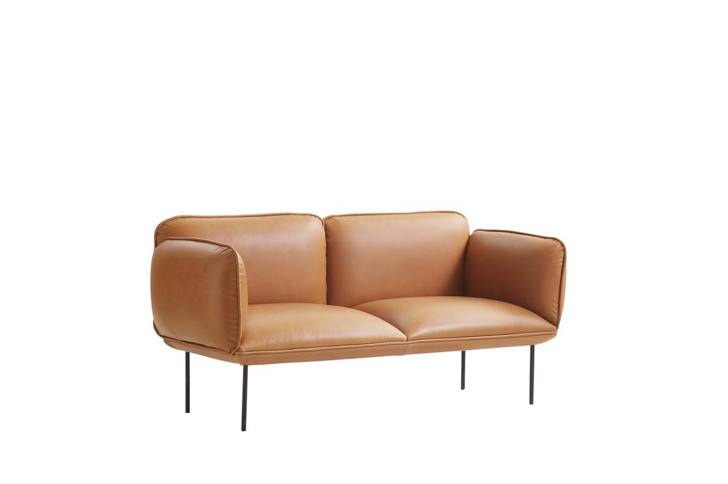 WOUD - NAKKI 2 SEAT SOFA - TAN LEATHER