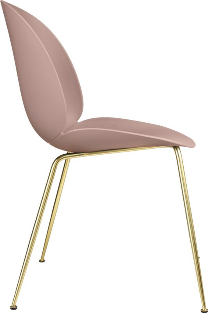GUBI BEETLE UN-UPHOLSTERED DINING CHAIR CONIC BRASS BASE - (Choose Colour)