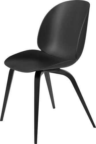 GUBI BEETLE UN-UPHOLSTERED DINING CHAIR - VARIOUS COLOURS WITH BLACK STAINED LEGS