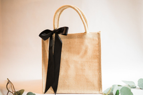 Burlap Totes & Ribbon - No Calligraphy Tags