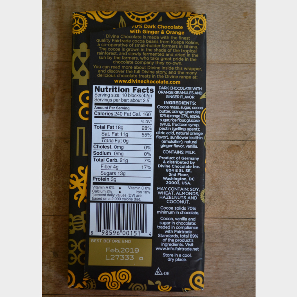 Divine Fair Trade Dark Chocolate with Ginger and Orange back