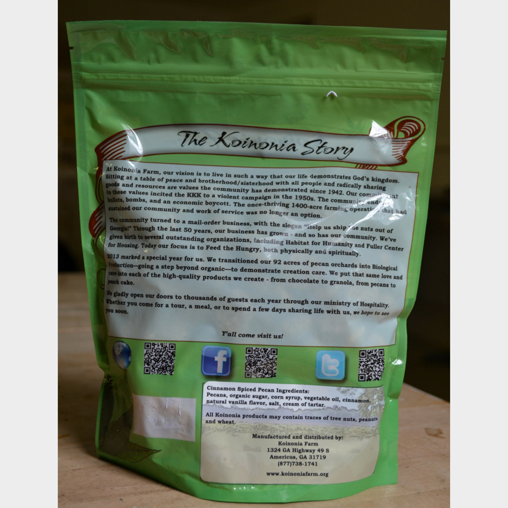 Koinonia Farm Cinnamon Spiced Pecans 1 lb bag back