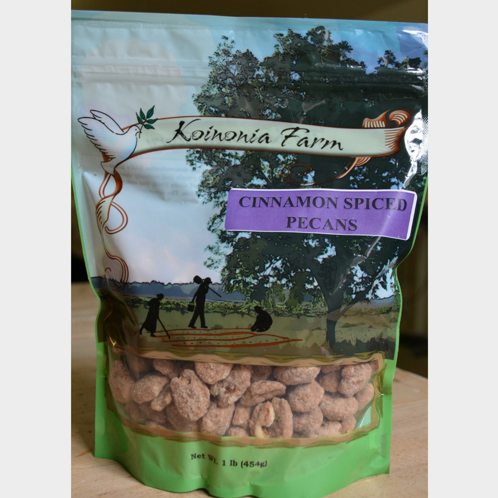 Koinonia Farm Cinnamon Spiced Pecans 1 lb bag front
