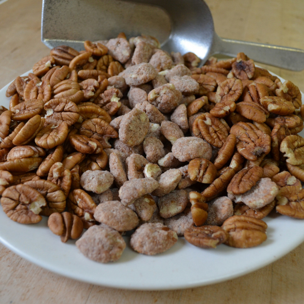 Pecan Sampler Tin with Biologically Grown Pecan Halves, Hickory Smoked Pecans, and Cinnamon Spiced Pecans mid