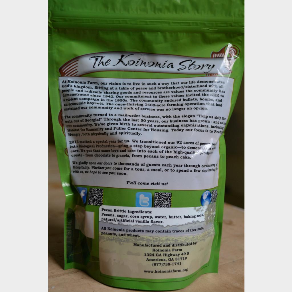 Koinonia Farm Pecan Brittle 8 oz Bag Back Bag