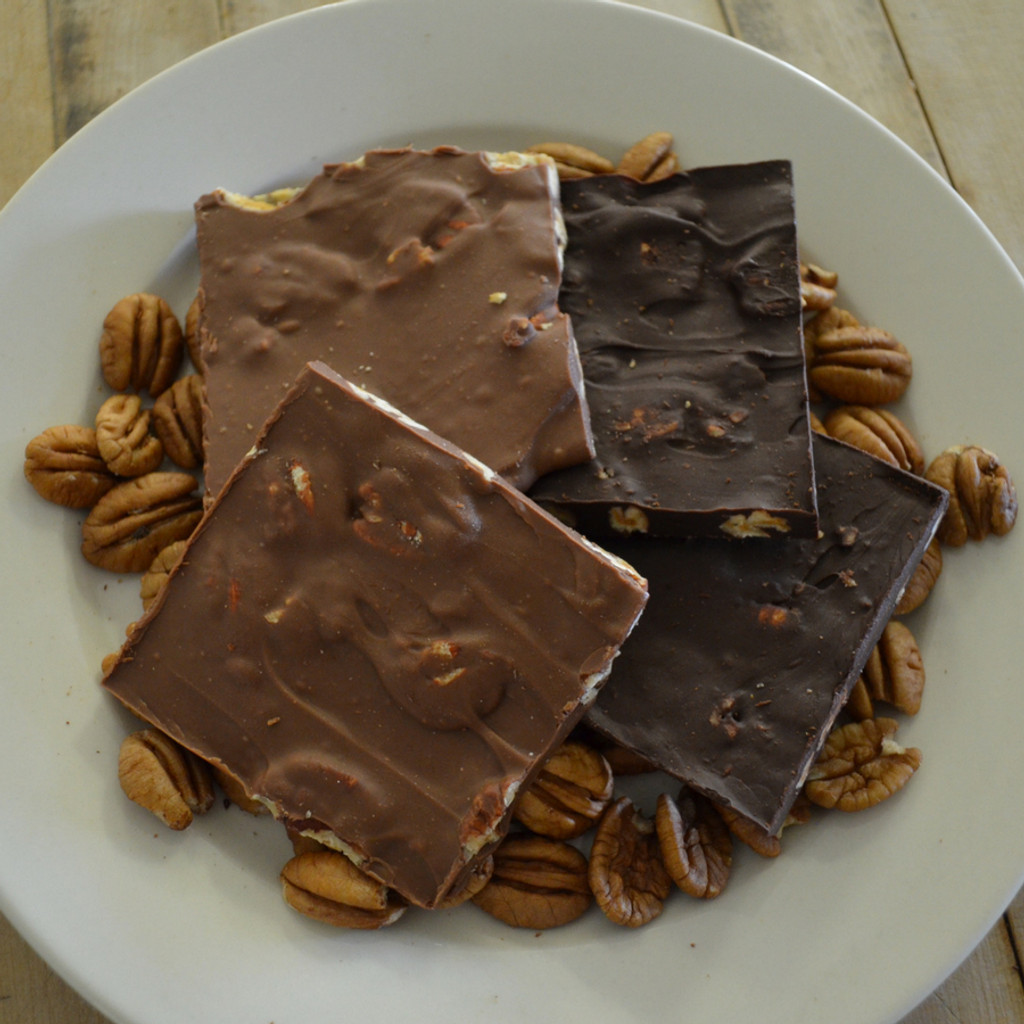 Fair Trade Dark and Milk Chocolate Pecan Bark Closer