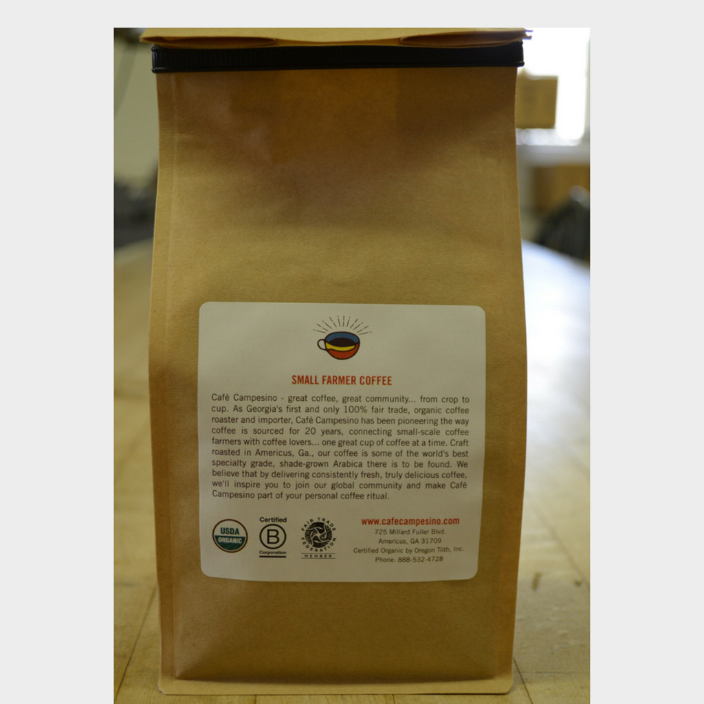 Guatemala Full City Roast Fair Trade Coffee by Café Campesino 1 lb bag back