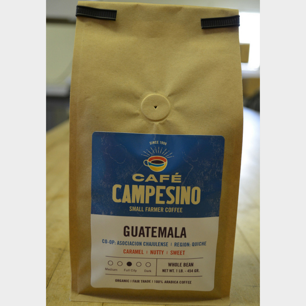 Guatemala Full City Roast Fair Trade Coffee by Café Campesino 1 lb bag whole bean
