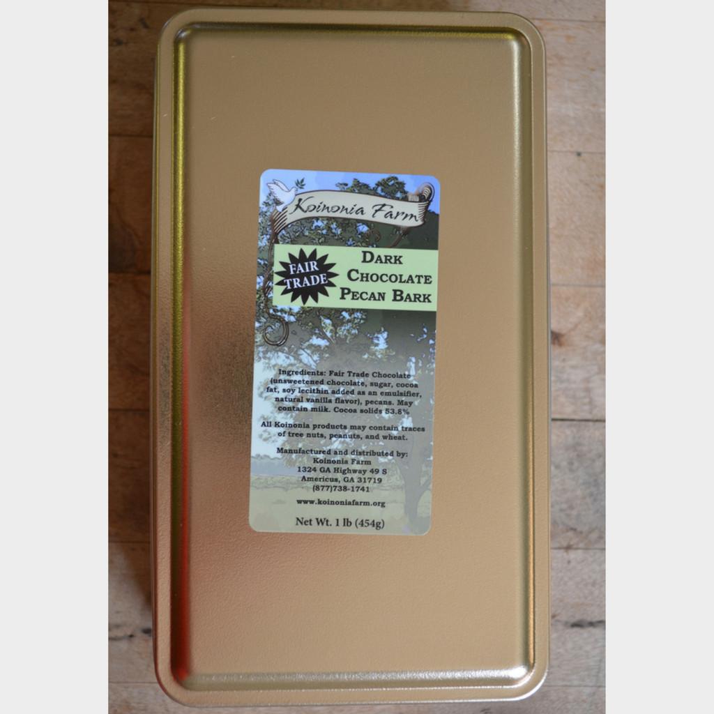 Dark Chocolate Pecan Bark 1 lb. Tin