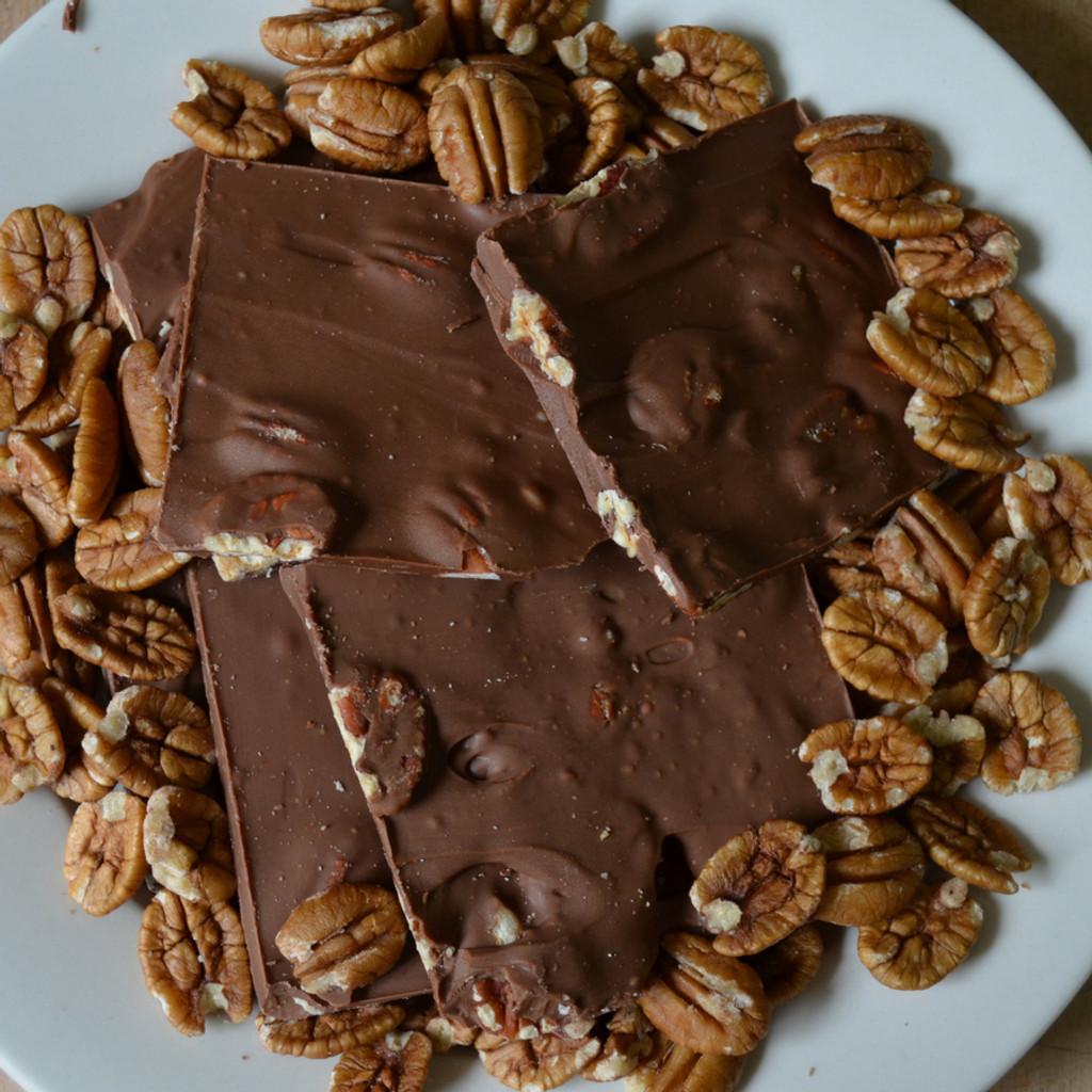 Fair Trade Milk Chocolate Pecan Bark Above Closer
