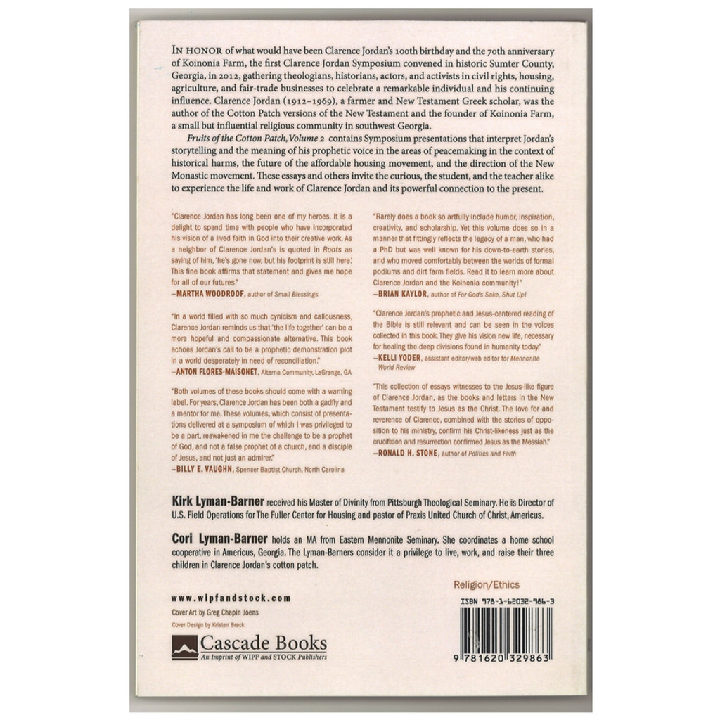 Fruits of the Cotton Patch Paperback Back Cover