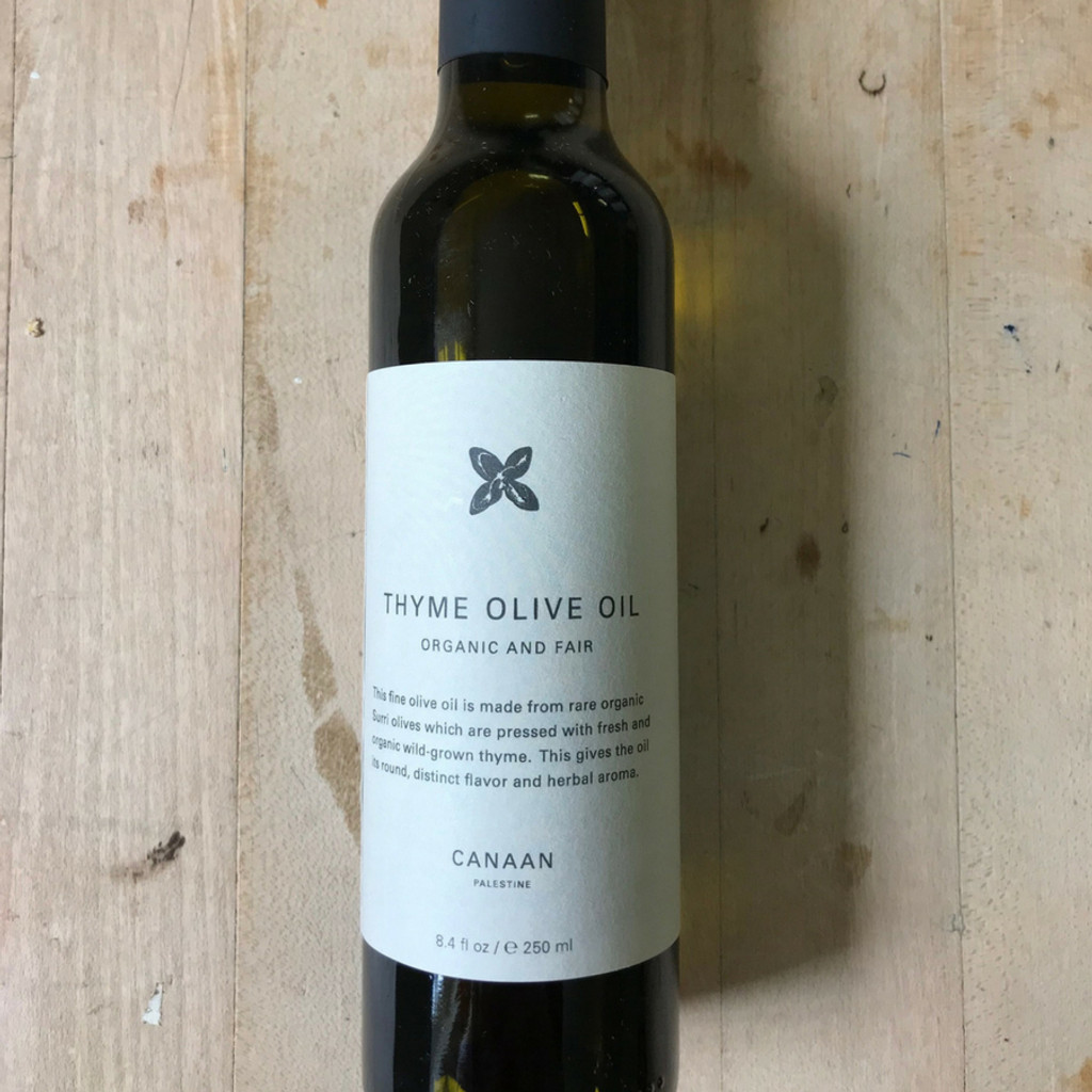 Thyme Olive Oil from Canaan Fair Trade Bottle Front