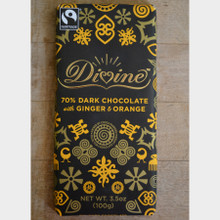 Divine Fair Trade Dark Chocolate with Ginger and Orange front