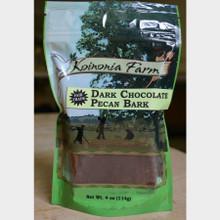 Dark Chocolate Pecan Bark 4 oz. Bag Front
