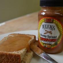Cinnamon Honey Spread on bread from Weeks Honey Farm