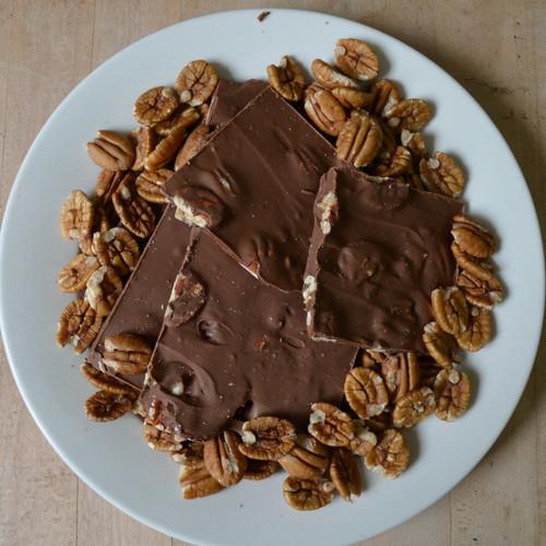Fair Trade Milk Chocolate Pecan Bark Above