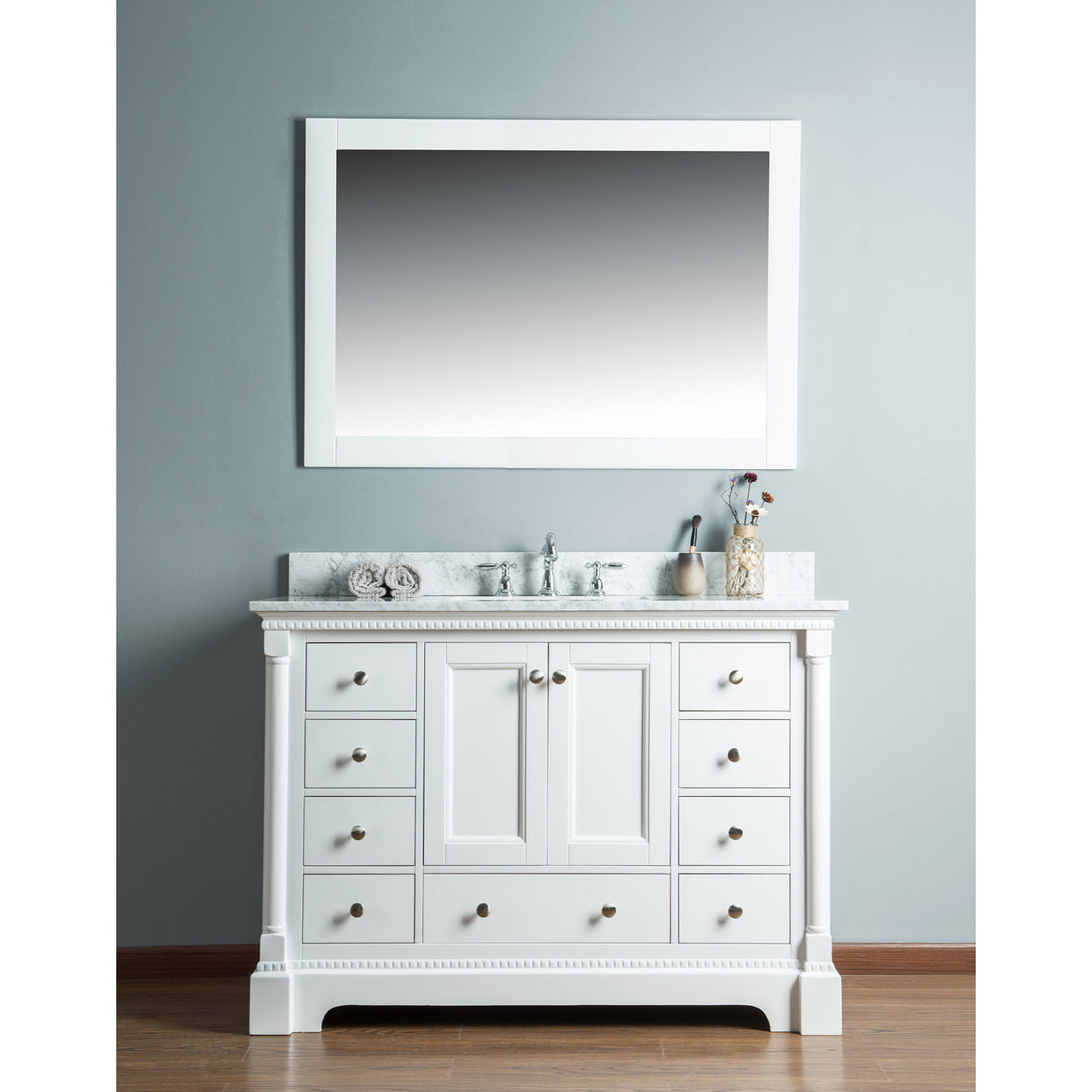 Olivia 48 in. Single Bathroom Vanity in White with Carrera Marble ...