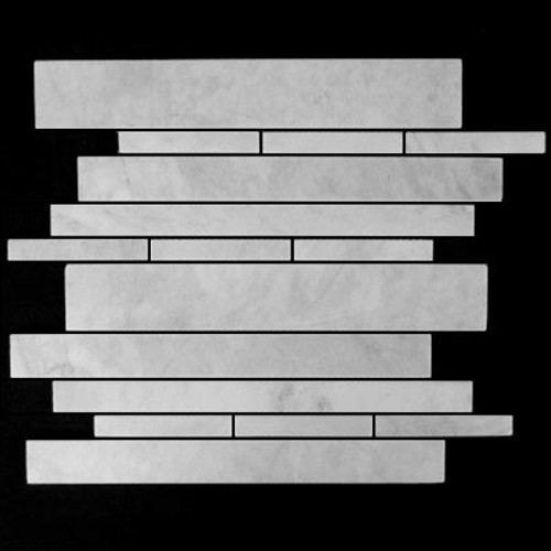 Italian White Carrera Marble Bianco Carrara Random Brick Random Strip Polished