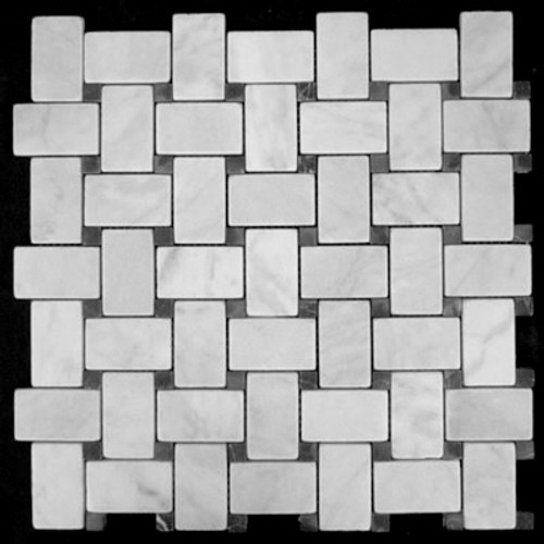 Italian White Carrera Marble Bianco Carrara Basketweave Mosaic Tile with Nero Marquina Black Dots Tumbled