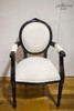 PRE ORDER:  Oval Floral Armchair - Black and white