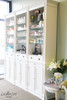 Library cabinet with glass shelves