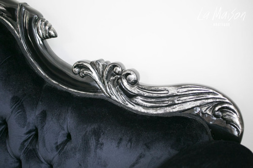 PRE ORDER NOW: Colonial Double Ended Chaise Longue - black with silver