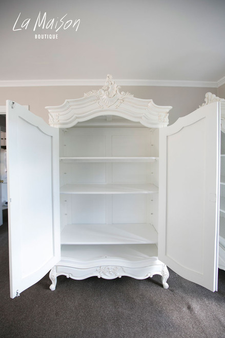 PRE ORDER: Two door Armoire with Mirrors - Antique white