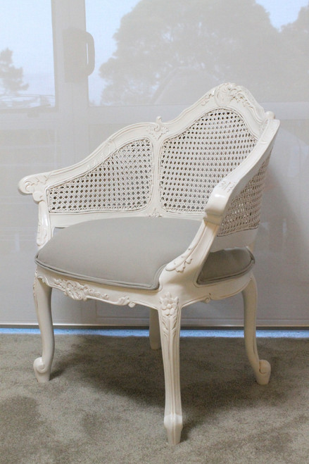 PRE ORDER: Rattan carved armchair - white