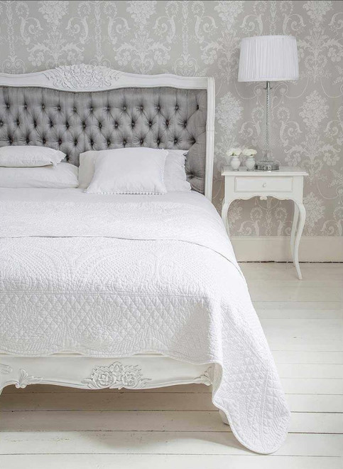 PRE ORDER: French Carved Padded Bed - Queen size | Grey