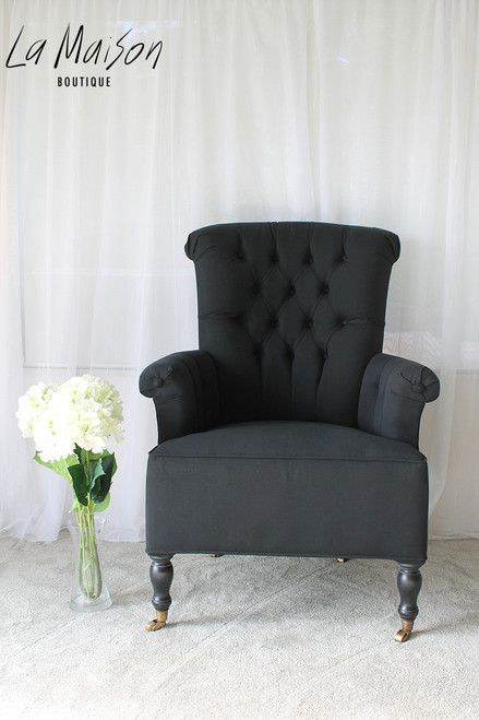 IN STOCK NOW: Deep Button Chair With Wheels - Black