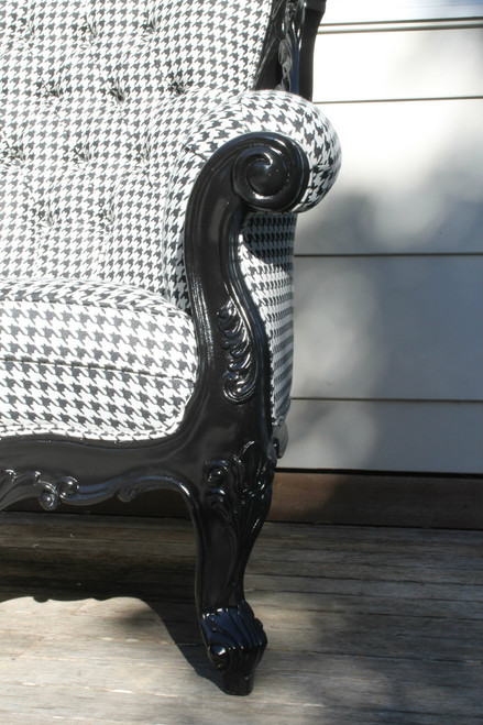 IN STOCK NOW: French carved Narissa armchair - Black