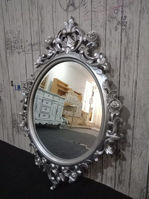 PRE ORDER: Oval carved Mirror - Silver