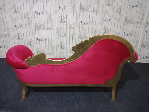 PRE ORDER: Flower Carved Chaise Longue - Gold & Red