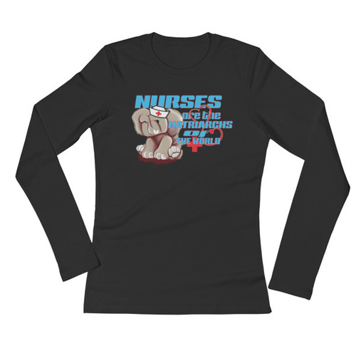 Ele' Nurse (Lt. Blue-lettering) Ladies' Long Sleeve T-Shirt - Black