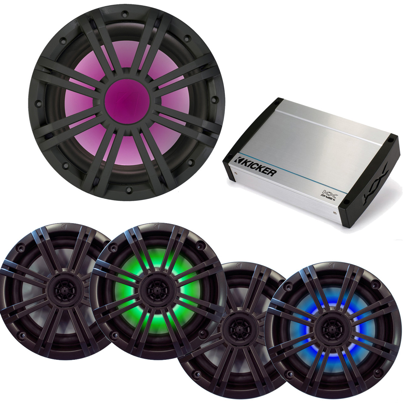 Kicker Marine Stereo System Package - Two Pairs of OEM 6.5\