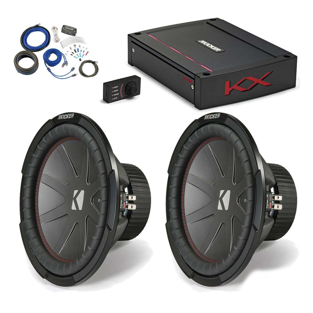 """Kicker 43CWR122 12"""" CompR Subwoofers with 44KXA12001 KX-Series ..."""