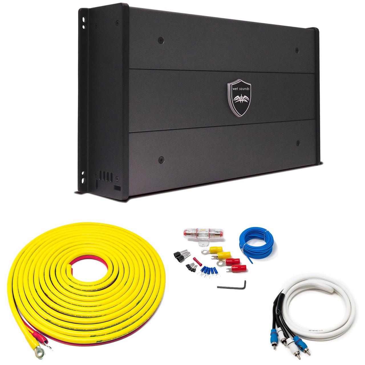 Wet Sounds SYN-DX-2.3HP SYN-DX Series Marine Amplifier & Stinger 7-Meter  4-Gauge Amplifier Wiring Kit w/ RCAs - Creative Audio