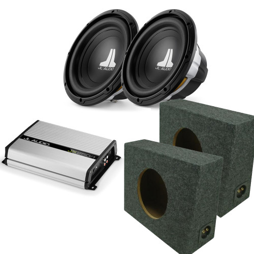 JL Audio (2)10w0v3-4 subwoofers (2)truck box enclosures with JX250/1 Bass Package