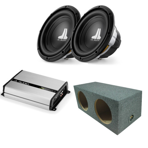 JL Audio (2)10w0v3-4 Subs, hatch box enclosure with JX250/1 Bass Package
