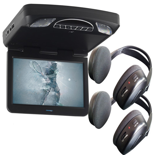 "Audiovox Overhead Bundle with MTG13UHD 13.3"" Monitor Built-In DVD and Headphones"