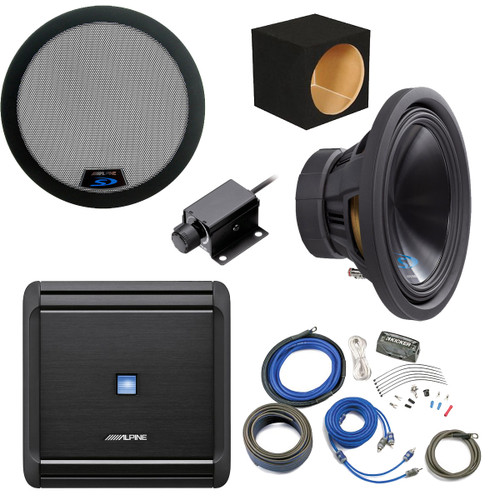 """Alpine Bass Package - Type-S 12"""" Subwoofer w/ box, MRV-M500 500 watt amp, Bass Knob,  Wiring Kit, and Grille"""