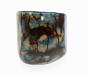 Eco-Chic Tagua Nut Marble Ring - Blue