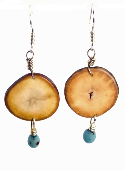 Eco-Chic Organic Hostia Nut Earrings with Chirilla Seeds - Aqua