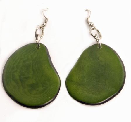 Boho Tagua Nut earrings - Green