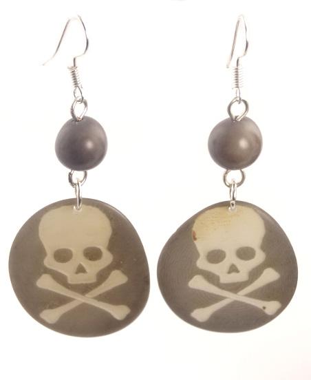 Laser-Etched Skull Earrings