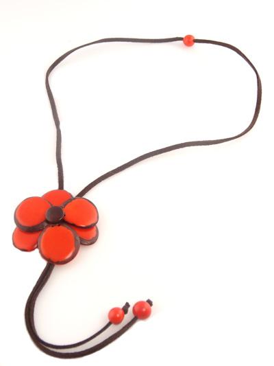 Tagua Flower Bolo Necklace - Orange